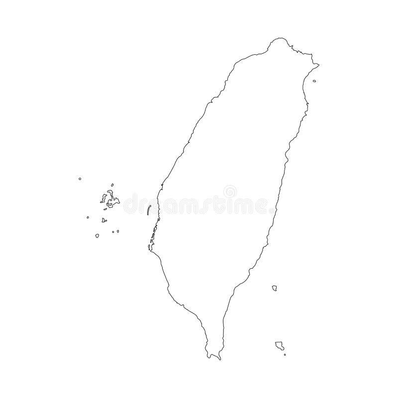 Taiwan-Karte mit Landgrenzen, dünner schwarzer Entwurf auf weißem Hintergrund Hohe ausführliche Vektorkarte mit Grafschaften/Regi stock abbildung
