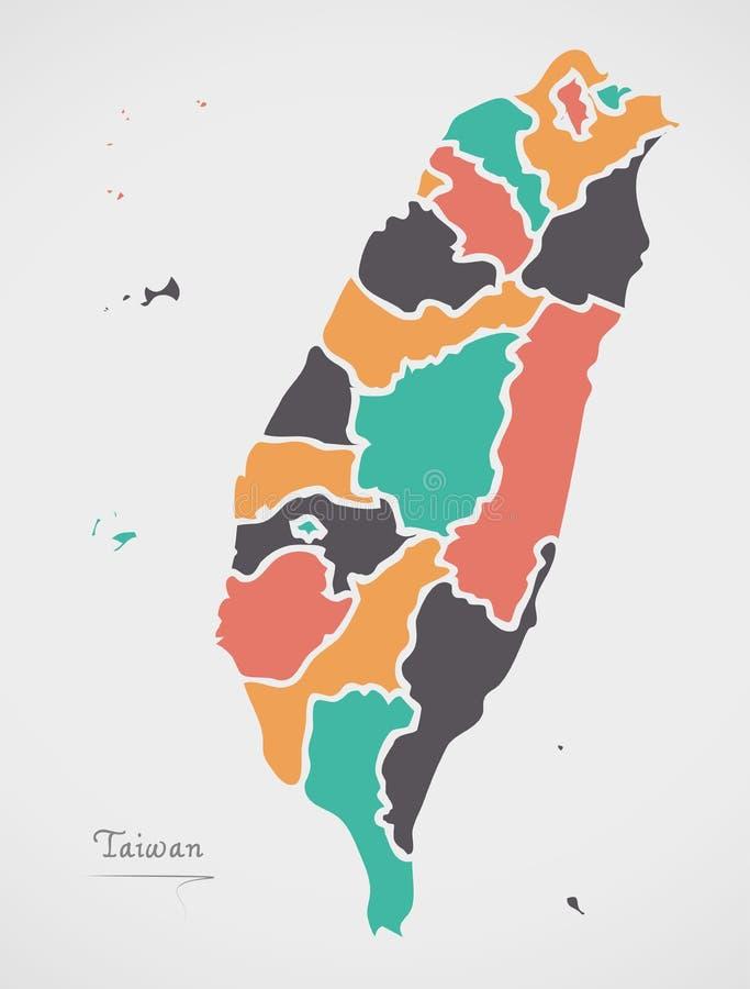 Taiwan-Karte mit Zuständen und modernen runden Formen stockfotografie