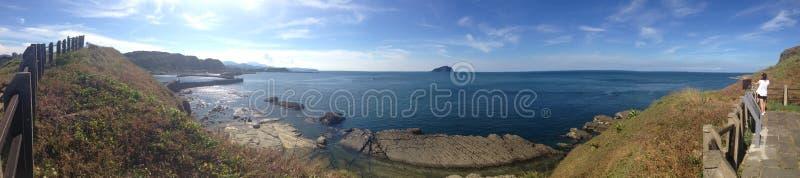 Taiwan Keelung sea 台灣 基隆 八斗子海邊. Taiwan keelung Badouzi Seaside Cliff Sky line Seascape Sunny day Sea island stock photos