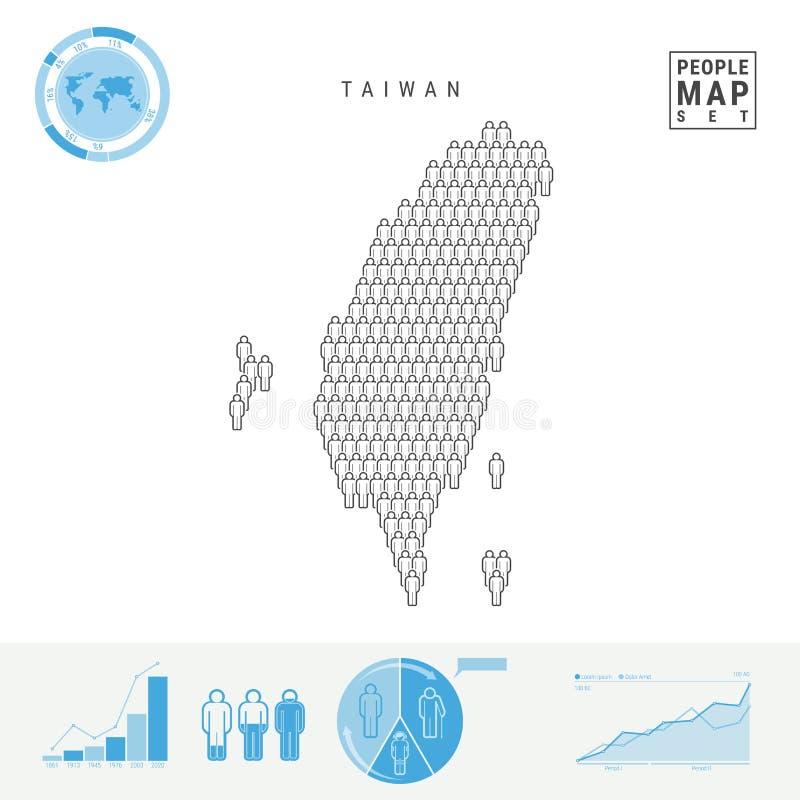 Taiwan-Leute-Ikonen-Karte Stilisiertes Vektor-Schattenbild von Taiwan Bevölkerungszuwachs und Altern Infographics lizenzfreie abbildung