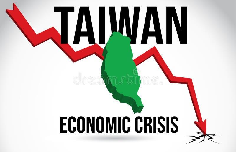 Taiwan Map Financial Crisis Economic Collapse Market Crash Global Meltdown Vector. Illustration stock illustration