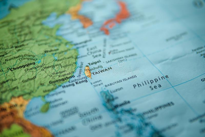 Taiwan on a map stock photography