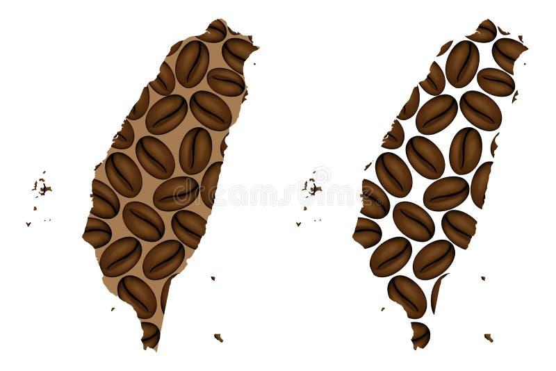 Taiwan - mapa do feijão de café ilustração do vetor