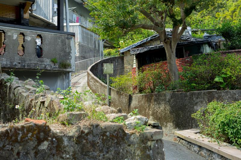 Taiwan, Monkey Cat Village, good weather, quiet alley,. Taiwan`s tourist attractions Monkey Cat Cat Village, sunny weather, quiet alley stock photography