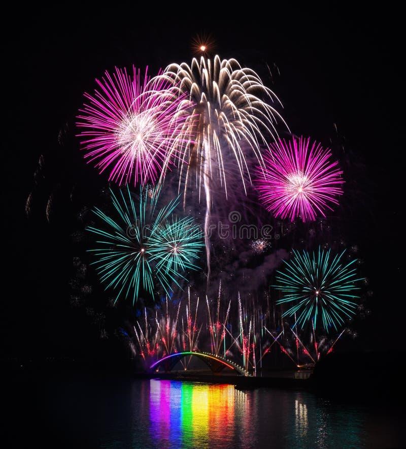 Taiwan, Penghu International Ocean Fireworks Festival, Rainbow Bridge, Magong Guanyinting Recreation Area, long exposure, new year. Concept royalty free stock photography