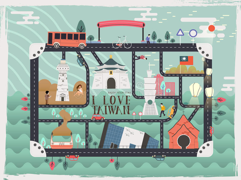 Taiwan-Reiseelemente stock abbildung