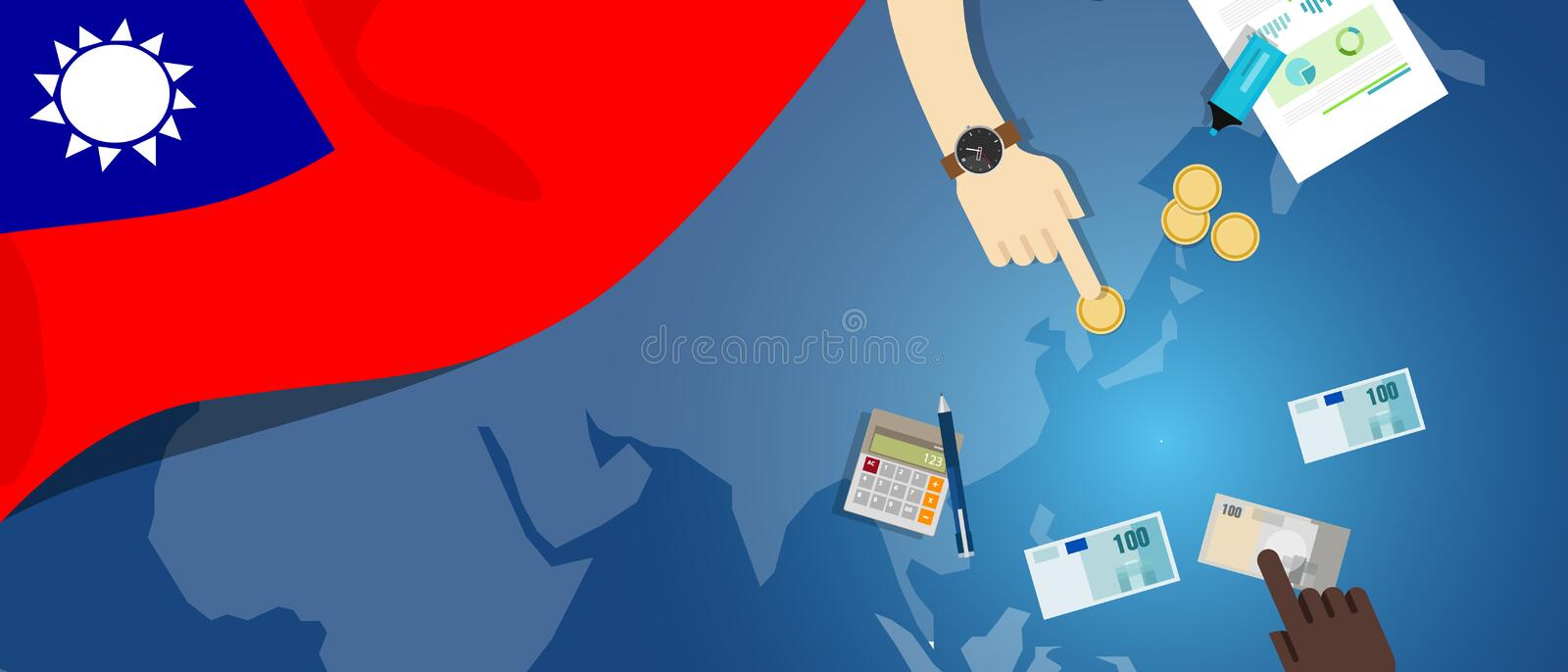 Taiwan Republic of China economy fiscal money trade concept illustration of financial banking budget with flag map. And currency vector stock illustration