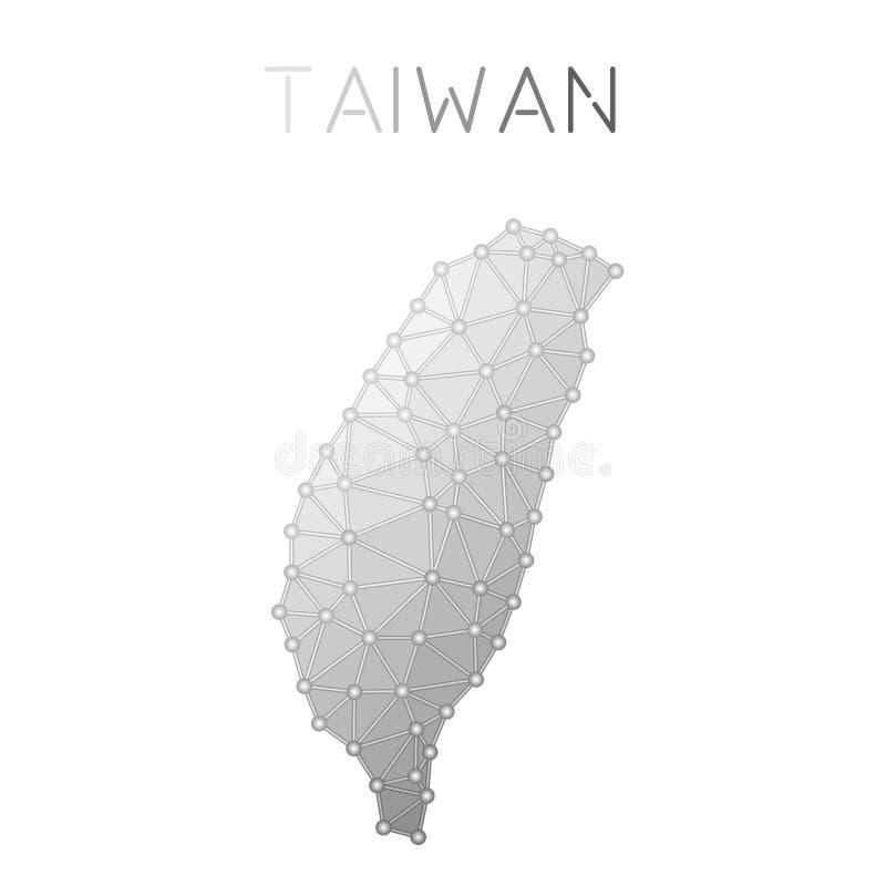 Taiwan Republiken Kina polygonal vektoröversikt stock illustrationer