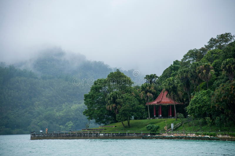 Taiwan's Sun Moon Lake in Nantou County, Lake View Pavilion, Chiang Kai-shek reportedly often in this front view of the lake royalty free stock image