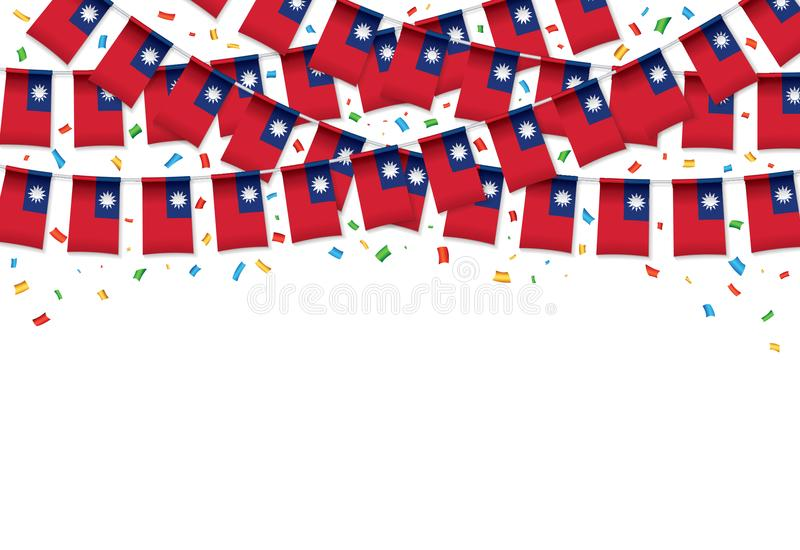 Taiwan sjunker vit bakgrund för girlanden med konfettier, hängningbunting för taiwanesisk självständighetsdagen stock illustrationer