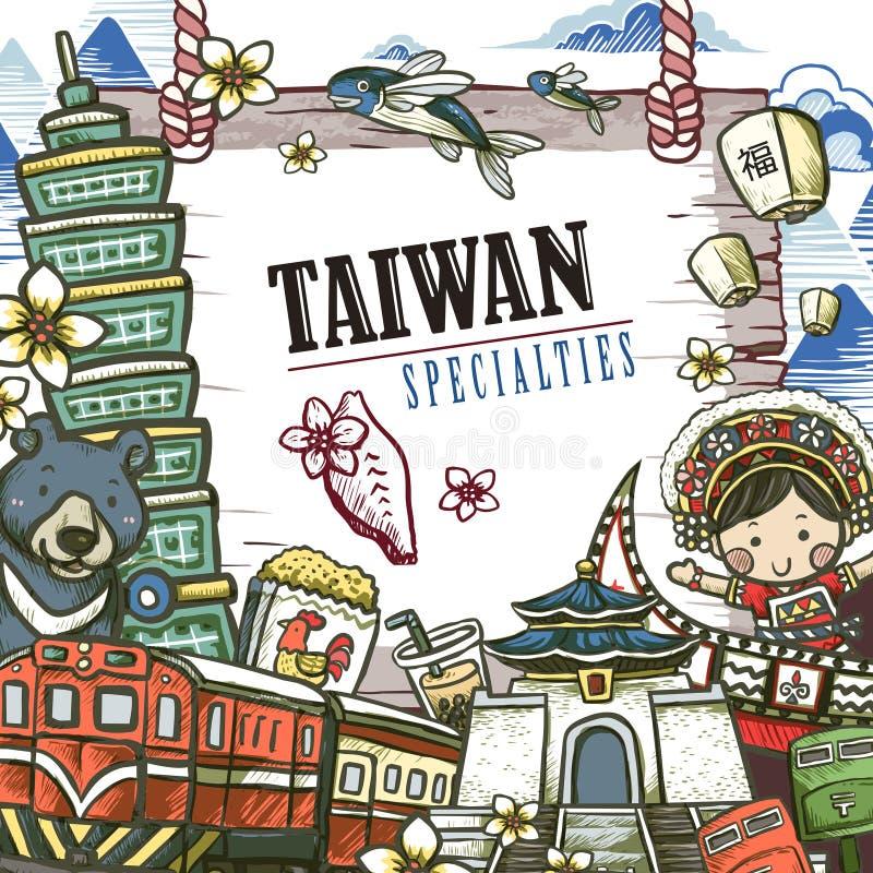 Taiwan specialties poster vector illustration