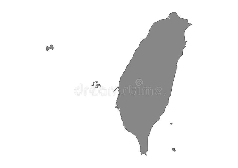 Taiwan State Map Vector silhouette. Asia vector format aviable royalty free illustration