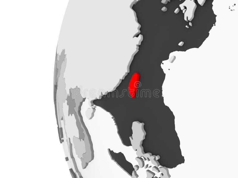 Taiwan sul globo grigio illustrazione di stock