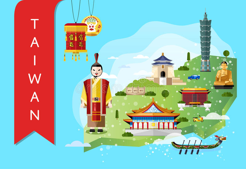 download taiwan travel concept with famous attractions stock vector illustration of decorative recreation