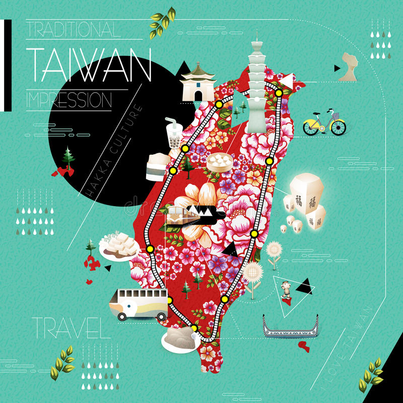 Free Taiwan Travel Map Royalty Free Stock Photos - 60959498
