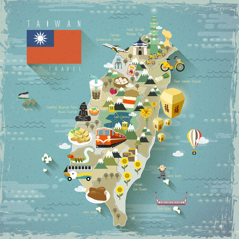 Free Taiwan Travel Map Stock Photos - 60963643