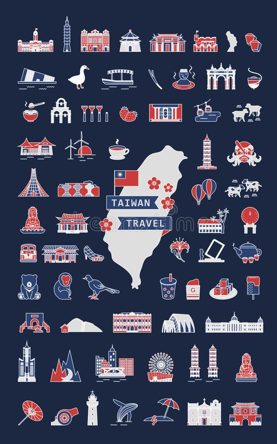 Taiwan Travel Symbol Collection Stock Vector Illustration Of