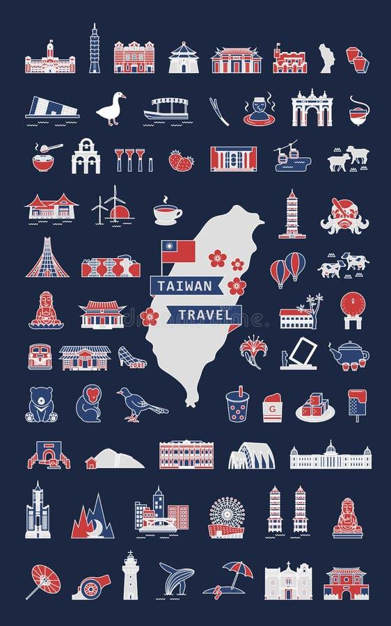 Taiwan travel symbol collection royalty free illustration