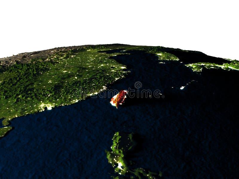 Taiwan van ruimte bij nacht vector illustratie
