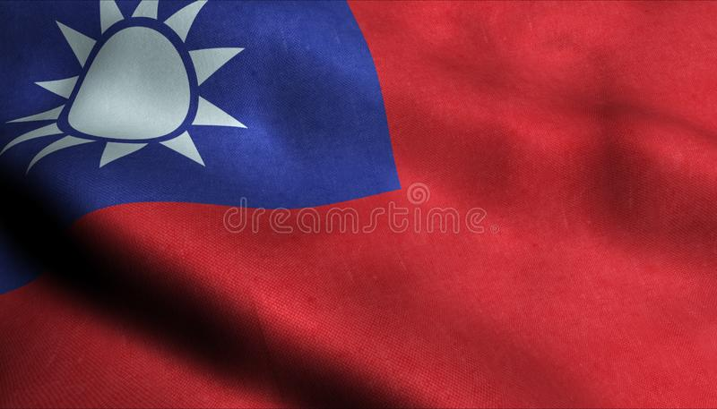 Taiwan vinkande flagga i 3D royaltyfri illustrationer