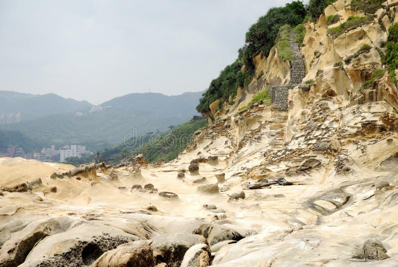 Taiwan Yehliu Geo-parkerar landskap royaltyfri bild