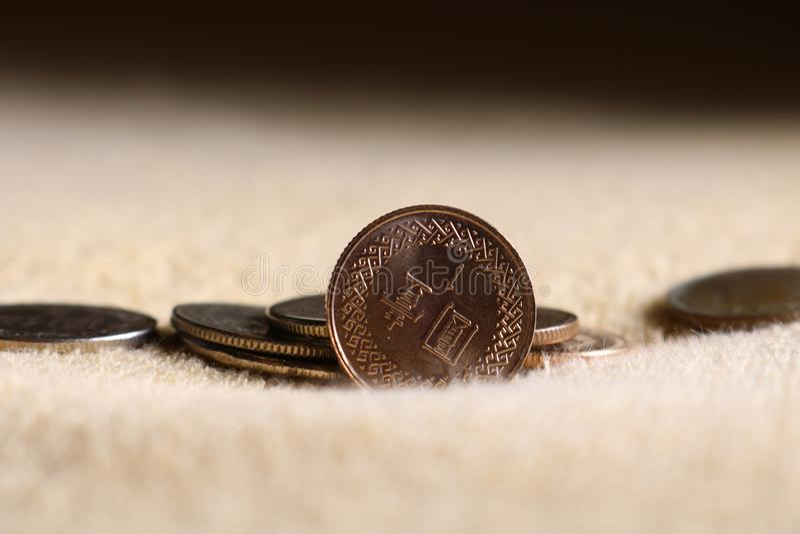 Taiwanase jeden dolara monety na miękkiej części ukazuje się zdjęcie royalty free