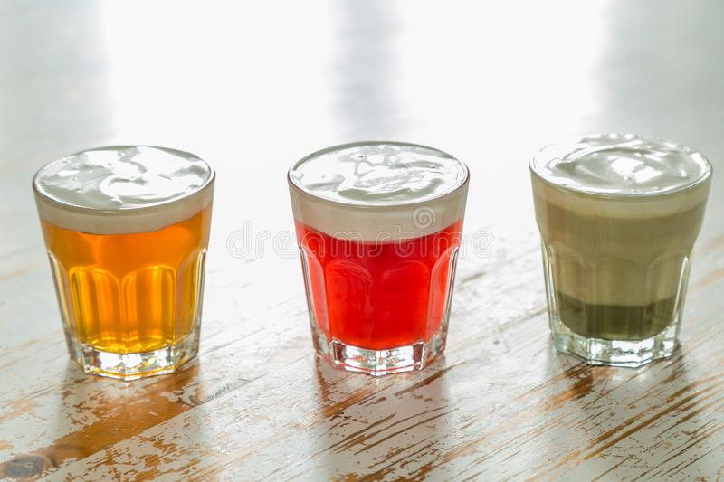 Taiwanese food trend - cheese tea assortment on white wood background. Copy space stock photo