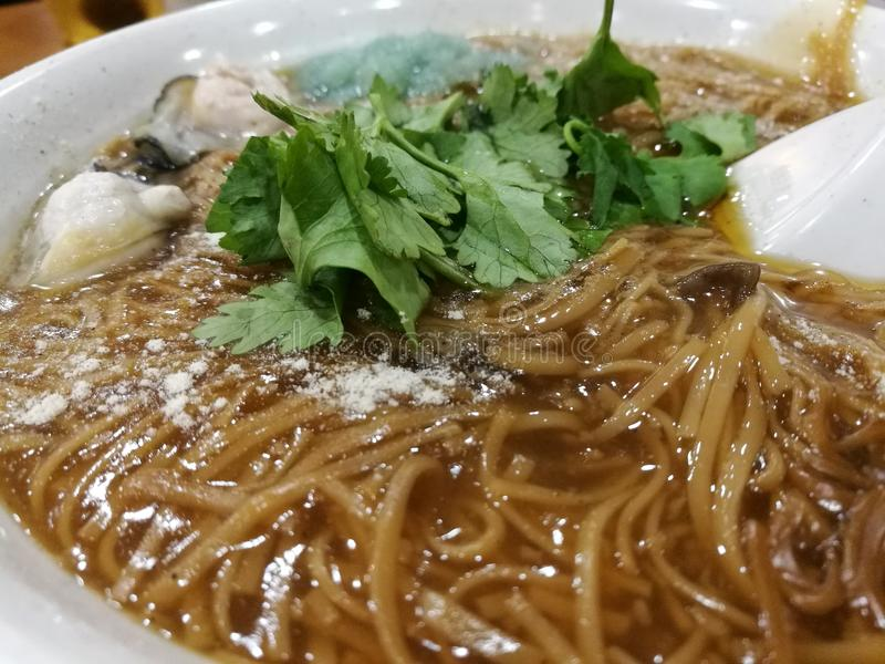 Taiwanese oyster mee sua. A dish with oyster meat and salted wheat flour vermicelli stock photography