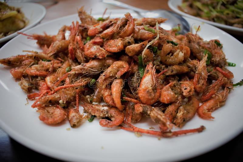 Taiwanese pepper shrimp, cuisine of Taiwan royalty free stock photo