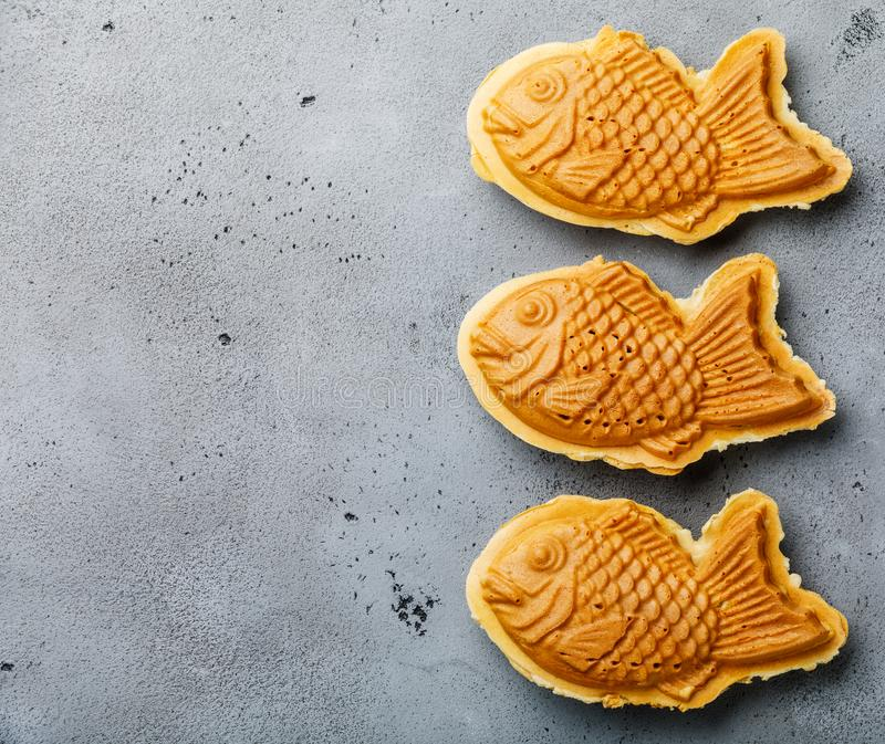 Taiyaki Japanese street food fish-shaped sweet filling waffle royalty free stock image