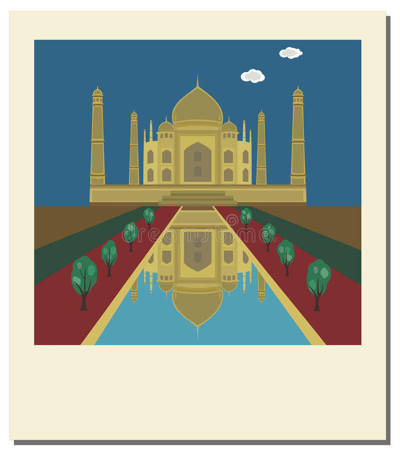 taj för foto för berömd india landmark mahal gammal royaltyfri illustrationer