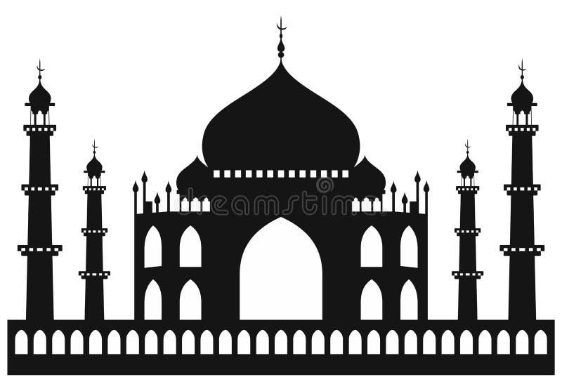 Taj-mahal寺庙剪影 向量例证