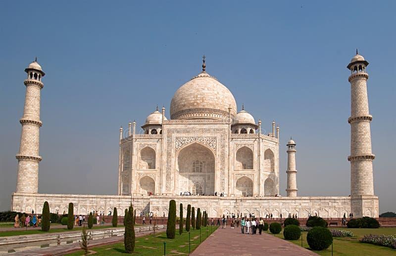 Taj Mahal ? um mausol?u de m?rmore marfim-branco na margem sul do rio de Yamuna em Agra, ?ndia fotografia de stock royalty free