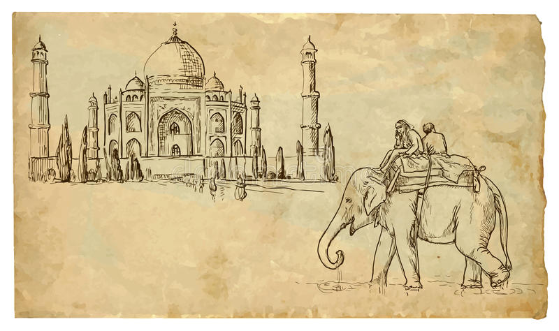 Taj Mahal vektor illustrationer