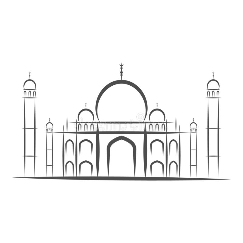 Ναός Taj Mahal, Agra, γραπτή απεικόνιση απομονώνω-διανύσματος σκιαγραφιών εικονιδίων της Ινδίας E ελεύθερη απεικόνιση δικαιώματος