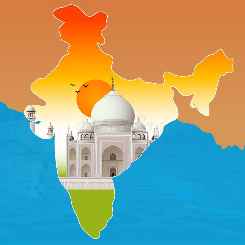 Taj Mahal, agra, India vector illustratie
