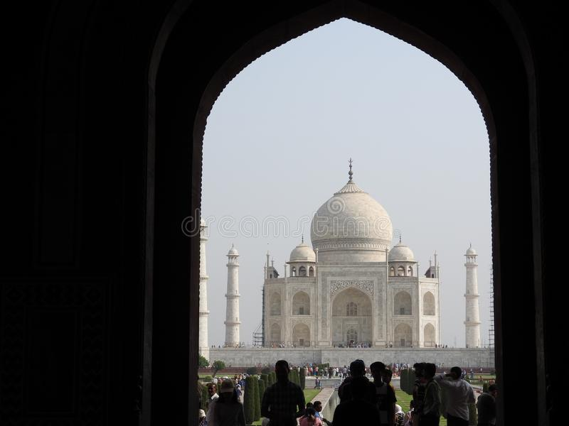 Taj Mahal, Agra, India, arch at the entrance to the mausoleum stock photography
