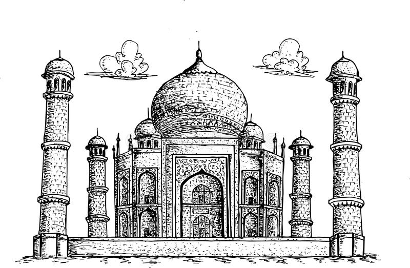 Taj Mahal Agra India hand drawn illustration stock illustration