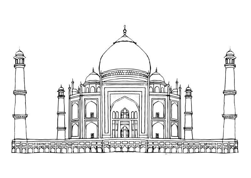 Taj Mahal Agra India Monument-vector vector illustratie