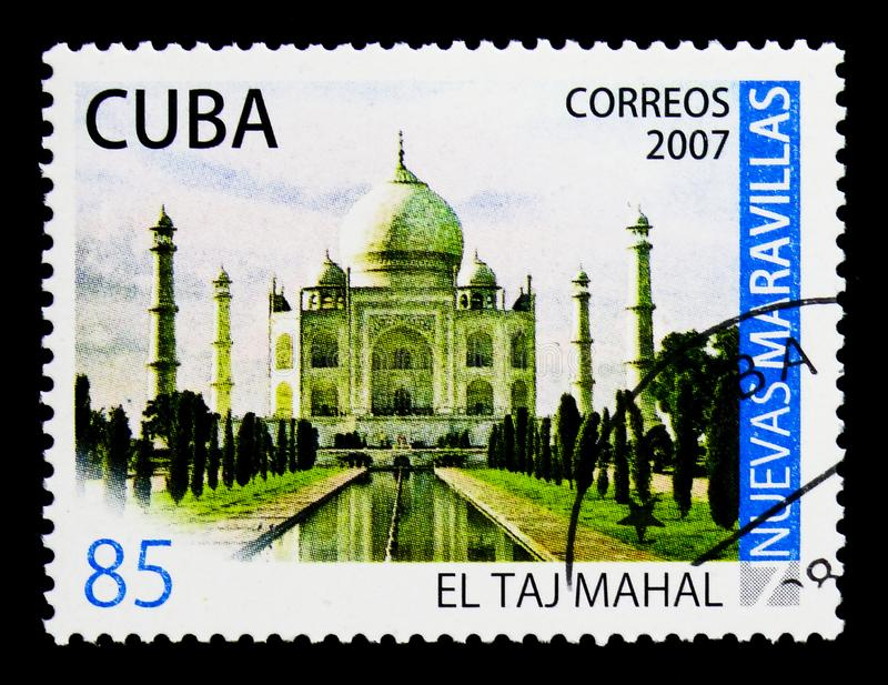 Taj Mahal in Agra, India, New Wonders of the world serie, circa. MOSCOW, RUSSIA - MARCH 28, 2018: A stamp printed in Cuba shows Taj Mahal in Agra, India, New royalty free stock photography