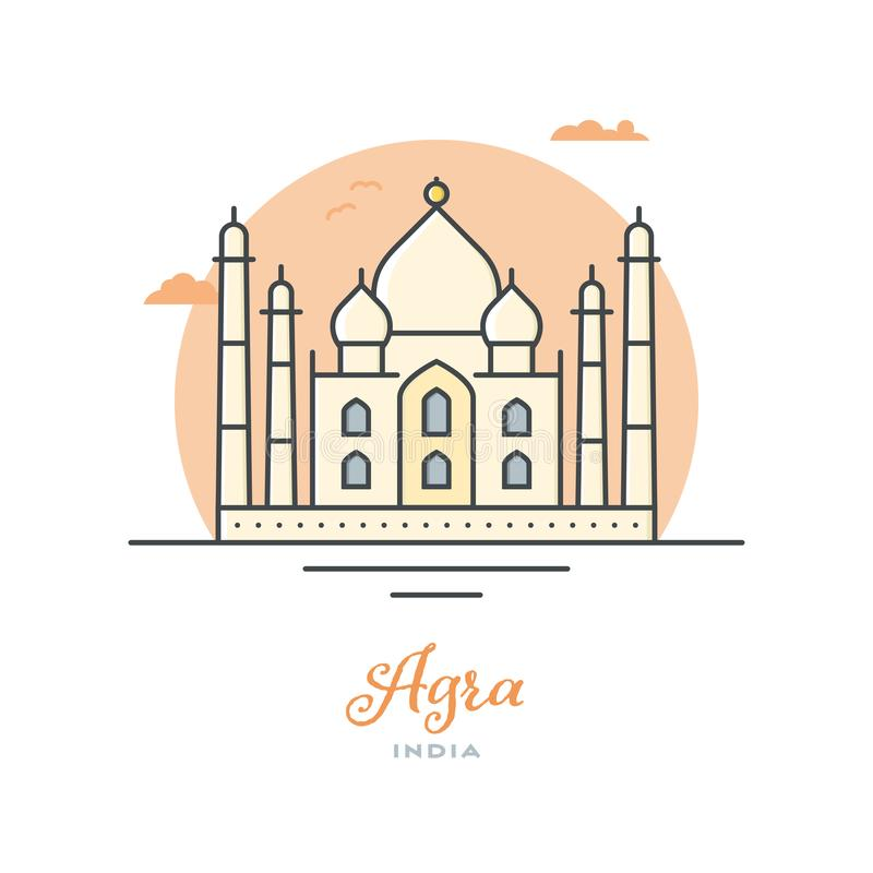 Taj Mahal in Agra, India, vlakke vectorillustratie royalty-vrije illustratie