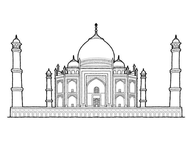 Taj Mahal, Agra, Uttar Pradesh, India: Getrokken het Beeldverhaalart. van de oriëntatiepunt Vectorillustratie Hand royalty-vrije illustratie