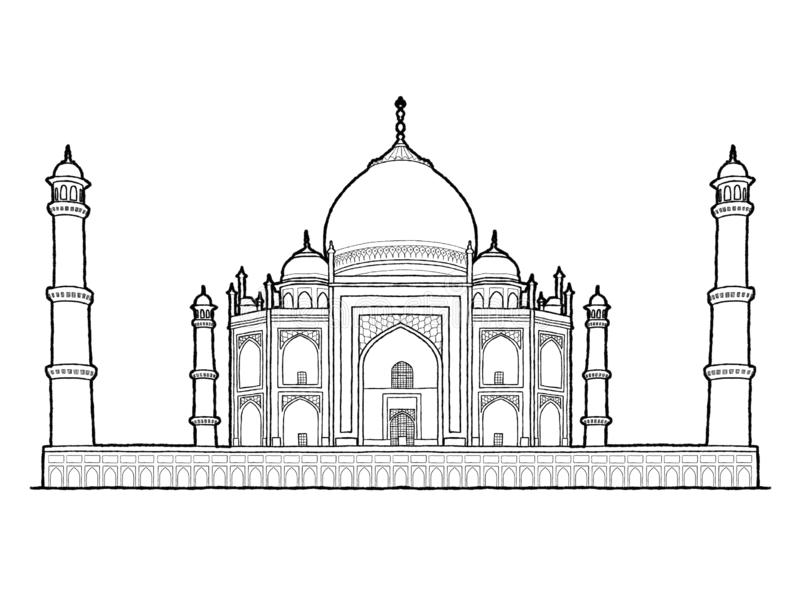 Taj Mahal, Agra, Uttar Pradesh, India: Landmark Vector Illustration Hand Drawn Cartoon Art royalty free illustration