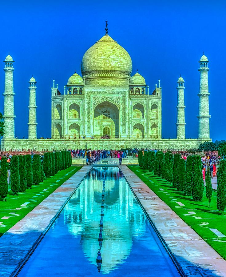 Taj Mahal in Agra, Uttar Pradesh, Indien stockbilder