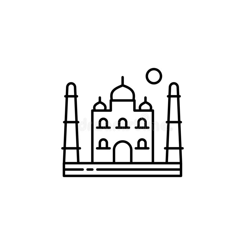 Taj mahal, Asia, India, Agra outline icon. Element of landscapes illustration. Signs and symbols outline icon can be used for web. Logo, mobile app, UI, UX royalty free illustration