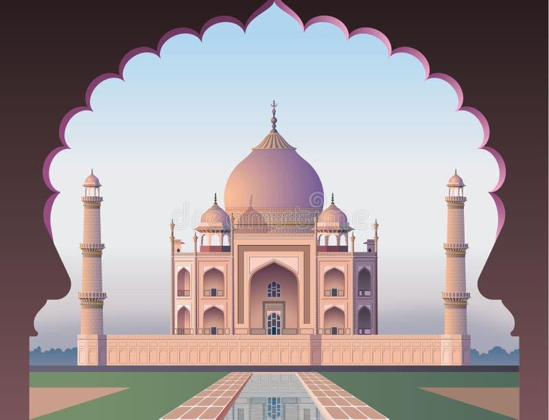 Taj Mahal através da janela ilustração stock