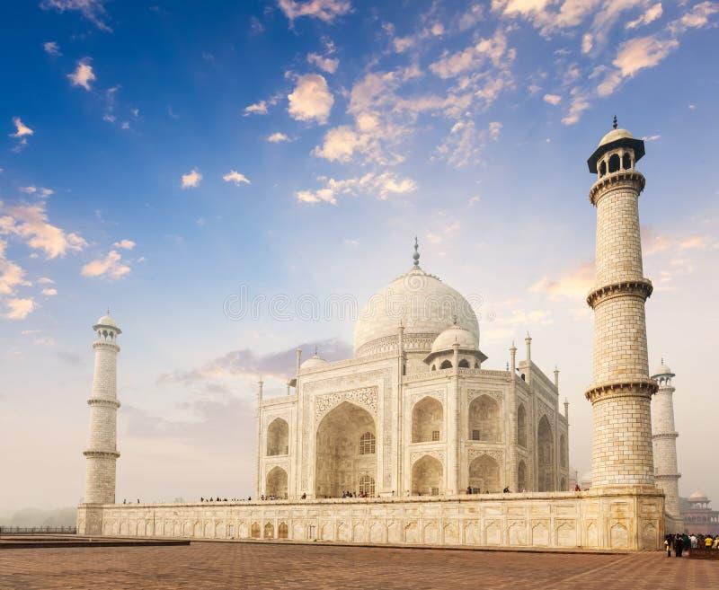 Taj Mahal auf Sonnenaufgangsonnenuntergang, Agra, Indien stockfotos