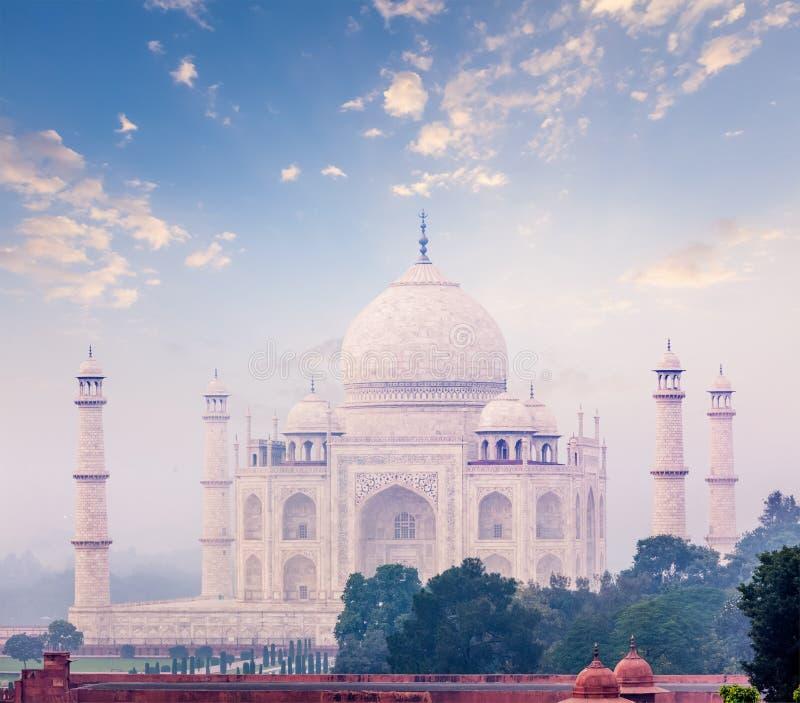 Taj Mahal auf Sonnenaufgangsonnenuntergang, Agra, Indien stockbilder