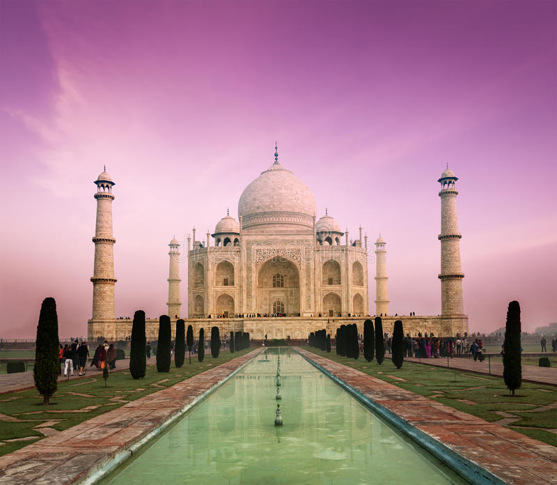 Taj Mahal auf Sonnenuntergang, Agra, Indien lizenzfreies stockfoto