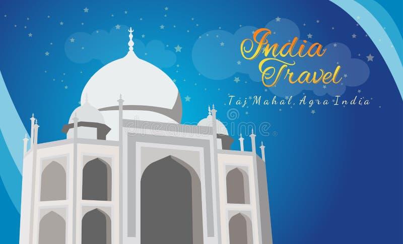 Taj mahal bij nacht, Agra, India vector illustratie